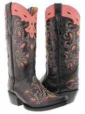 Women's Catania Black Pink Studded Western Leather Cowboy Cowgirl Rodeo Boots