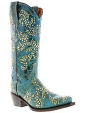 Women's Turquoise Malaga Western Leather Cowboy Cowgirl Boots Rodeo Studs Riding