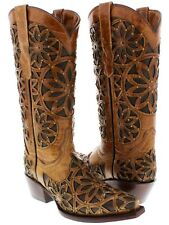 Womens Almond Brown Vitralli Studded Western Cowboy Boots Leather Cowgirl New
