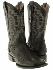 Men's Exotic Ostrich Quill Black Leather Cowboy Boots Western Rodeo Square Toe