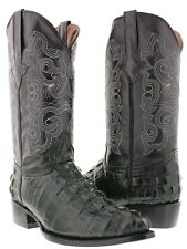 Mens green crocodile tail leather western cowboy boots rodeo alligator biker new