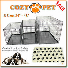 Dog Cage with Vet Bed Cozy Pet Dog Crate Puppy Crate 5 Sizes Folding Cat Crate