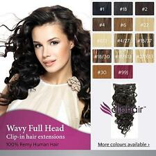 Wavy Hair Extensions, 100% Real Remy Human Hair Extensions. Clip-In Full Head.