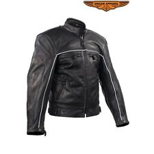 Mens Racer Black Top Grade Leather Motorcycle Jacket with Reflective Piping  780