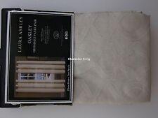 "LAURA ASHLEY Oakley 2 WINDOW PANELS SET 84""L GROMMET Sheer Tan Beige Trefoil NEW"