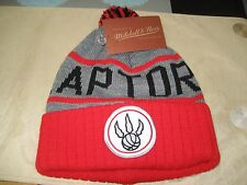 MENS TORONTO RAPTORS Mitchell & Ness Winter BEANIE POM HAT  RED/GRAY  NWT