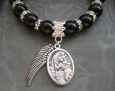NEW PICK YOUR SAINT Saints Medal Black Agate & Crystal Beaded Bracelet Religious