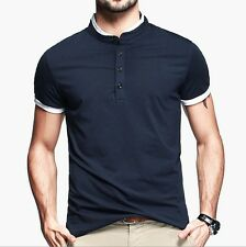 New Fashion! Mens Short Sleeve T-shirt Stand Collar Slim Basic Cotton Tee M L XL