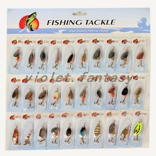 Quality 30 Pcs Spinner Lures Baits Assorted Fishing Tackle Gear Hard Lures Set
