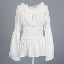 women's white lace peasant blouses off the shoulder long sleeves hippie boho
