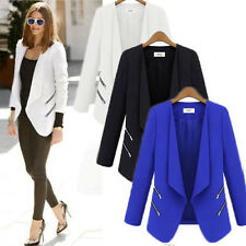 Women Career OL Long Sleeve Slim Casual Zip Suit Blazer Jacket Coat Tops Outwear