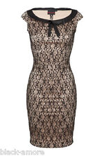 NEW CHIC IVORY BLACK LACE PENCIL WIGGLE DRESS VINTAGE 50' ROCKABILLY PARTY GOTH