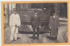 Real Photo Postcard RPPC- Conductor Motorman & Man in Front of Streetcar Trolley