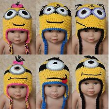 New Cute Handmade Minions Hat Baby Child Knit Crochet Hat Cap Newborn Photo Prop