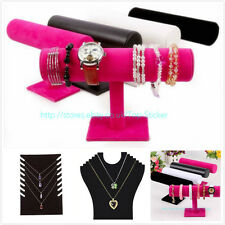 Velvet T-Bar Jewelry Rack Bracelet Necklace Stand Organizer Holder Display GB