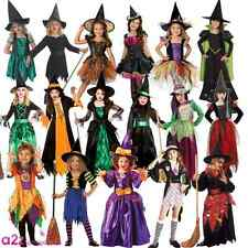 DELUXE GIRLS WICKED WITCH WITH HAT OZ HALLOWEEN FAIRYTALE FANCY DRESS COSTUME
