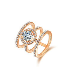 18K ROSE GOLD VERMEIL Open Cubic Zirconia  Knuckle Ring Engagement Wedding Ring
