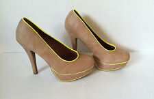 CANDIE'S PLATFORM NUDE TAN NEON SLIP ON HIGH HEELS SHOES Size 9, 10 NEW