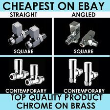 RADIATOR VALVES LUXURY CHROME ON BRASS - PAIR - CHEAPEST ON EBAY - FREE DELIVERY