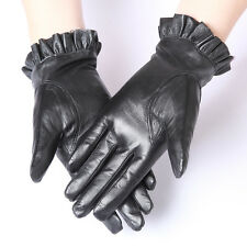 Wonderful Lady Black Genuine Lambskin Leather Winter Warm Driving Walking Gloves