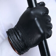 Black Men Genuine Sheep Leather Winter Driving Motorcycle Fleece Lined Gloves
