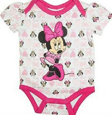 Licensed ~ Minnie Mouse ~ Baby Girl Hot Pink & White Cotton Bodysuit