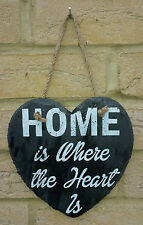 HOME IS WHERE THE HEART IS ≈ HANGING HEART SHAPED SLATE SIGN PLAQUE ≈ CHIC GIFT