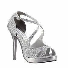 "Silver Shimmer 3 3/4"" High Heel Platform Sandal Dance Holiday Party Prom Shoes"