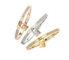 NEW MICHAEL KORS GOLD SILVER CZ CRYSTAL PAVE PADLOCK CHARM HINGE BANGLE BRACELET