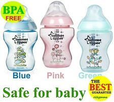 Tommee Tippee Closer to Nature Blue Green Pink Decorated Bottle 260ml; 9oz Brush