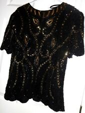 ROYAL FEELINGS BLACK PURE SILK SEQUINED BEADED LINED TOP BLOUSE SIZE L INDIA