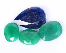 Emerald & Sapphire 60.78Ct 4Pcs Oval & Pear Shape Gemstone Wholesale Lot HG 1293