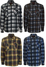 Mens Lumberjack Padded Quilted Check Warm Winter Work Shirt Fur Lined Arm M-3XL