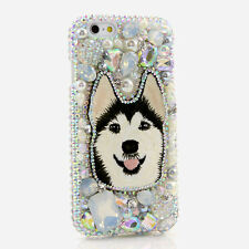 iPhone 6 6S / 6S Plus 5S Bling Crystals Case Cover AB Pearls Diamonds Husky Dog