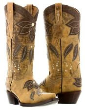 Womens Sand Tan Summer Leather Cowboy Cowgirl Boots Western Rodeo Leaves Fall