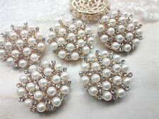 30 mm Ivory Pearl Gold Metal Rhinestone Buttons Large Bridal Embellishment