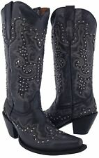 Womens Studded Tall Denim Blue Leather Western Cowgirl Cowboy Boots Riding Rodeo