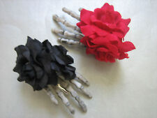 DOUBLE ROSE GOTH SKELETON HAND HAIR CLIPS - CHOOSE YOUR COLOUR / ROCKABILLY