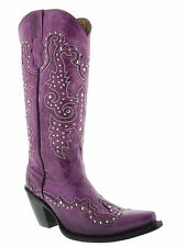 Womens Purple Tall Studded Leather Western Cowboy Cowgirl Boot Rodeo Riding