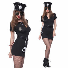 Womens Police Officer Cop Uniform Costumes Role Play Fancy Dress Party Handcuffs