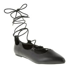 New Womens SOLE Black Jasmin Synthetic Shoes Ballerina Lace Up