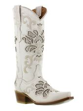 Womens White Overlay Leather Cowboy Cowgirl Leather Boots Western Riding Rodeo