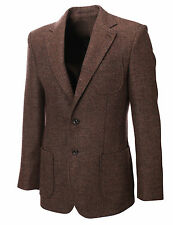 MENS HERRINGBON​E WOOL BLAZER JACKET WITH ELBOW PATCHES  sz S,M,L,XL / BJ902BR