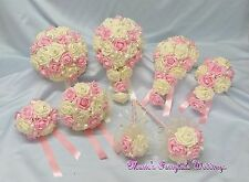 WEDDING FLOWERS LT PINK +IVORY BRIDE B/MAIDS F/GIRL BOUQUET WAND CORSAGE PACKAGE