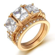 Stainless  Steel Gold/Siver Square CZ Wedding Engagement Band 2 Ring Women's Set