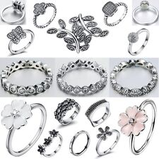 Size 6-9 Fashion Fine Silver Engagement Wedding Ring 925 Sterling Woman Jewelry
