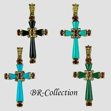 Cross Pendant with Green Agate, Turquoise, Onyx, Garnet & Marcasite