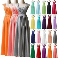 Long Chiffon Straps Lace Up Back Wedding Party Evening Prom Bridesmaid Dresses