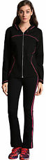 Womens Zipper Cardigan Color match Long Pants Suit Sports Sweatshirts Tracksuit