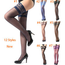 Women's 13cm / 5.1 inch Width Lace Top Sheer Thigh High Silk Stockings 12 Color